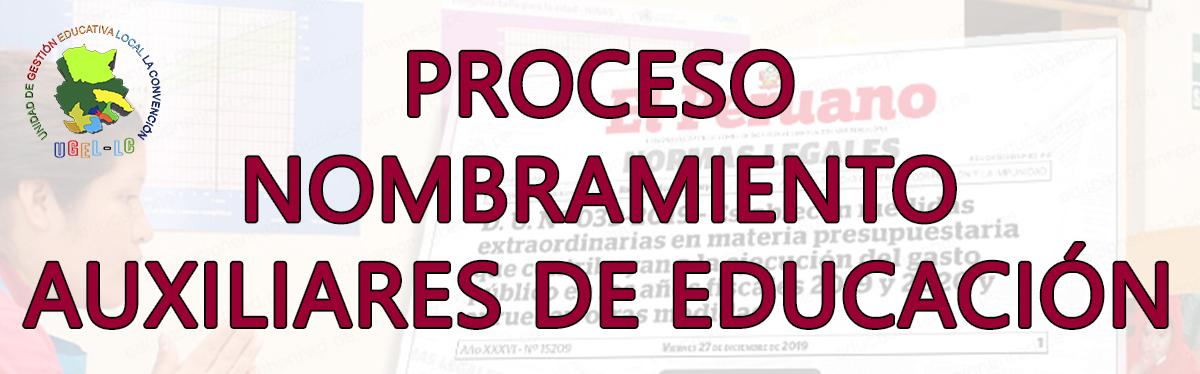 PROCESO NOMBRAMIENTO DE AUXILIARES DE EDUCACIÓN 2021