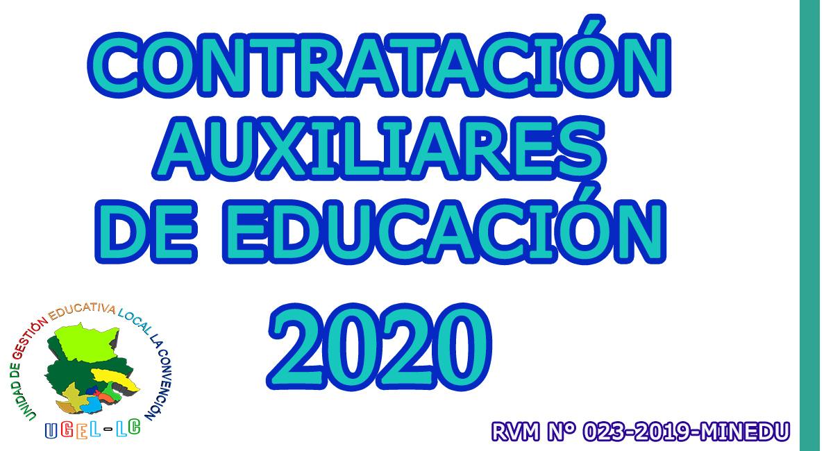 PROCESO DE CONTRATACIÓN AUXILIARES DE EDUCACIÓN - 2020