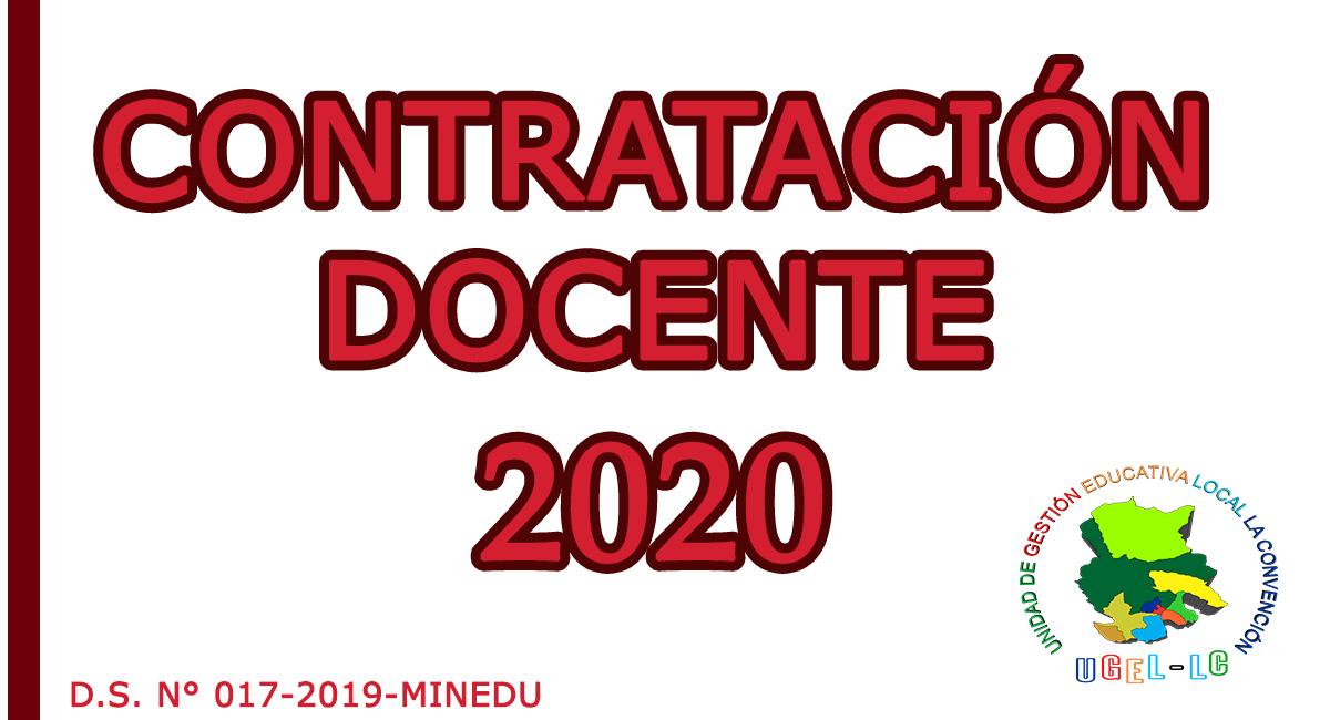 PROCESO DE CONTRATACIÓN DOCENTE - 2020
