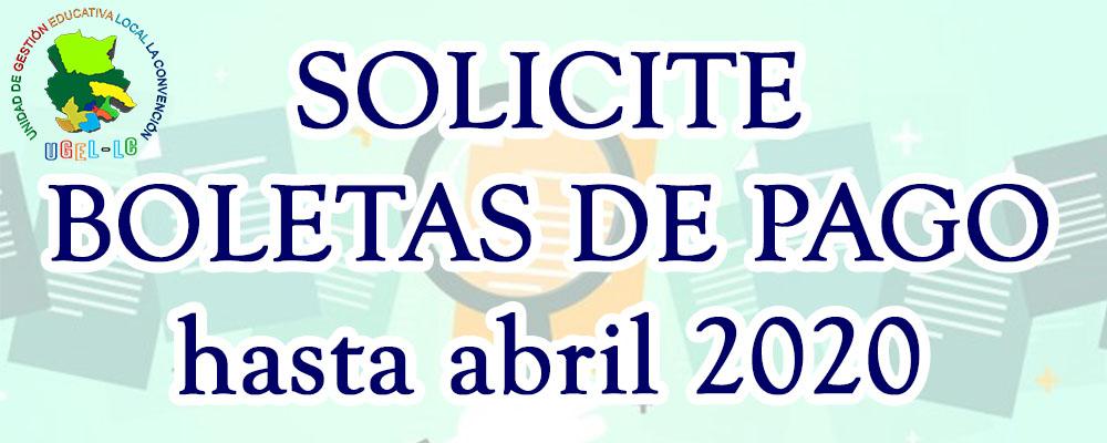 SOLITE BOLETAS DE PAGO DE ENERO - ABRIL 2020